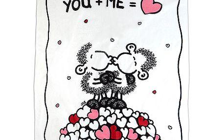 Kvalitní flaušová deka se zamilovaným motivem oveček You + Me z kolekce Sheepworld, barva bílá.