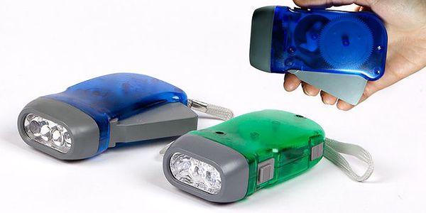 Ekologická LED svítilna se 3 diodami na ruční pohon s poštovným v ceně