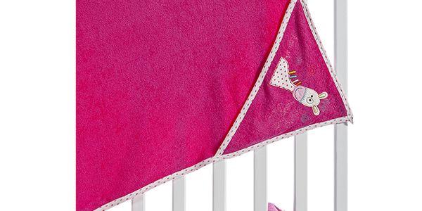 Kvalitní set - dětský ručník s kapucí a žínkou - tm. růžový