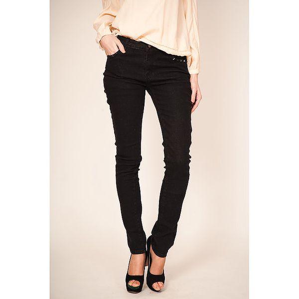 Dámské černé džíny s aplikacemi na kapsách Tantra