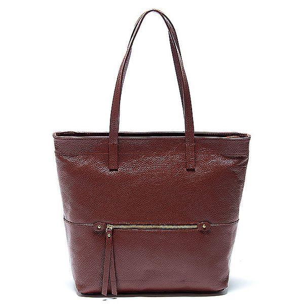 Elegantní hnědá kožená kabelka Renata Corsi