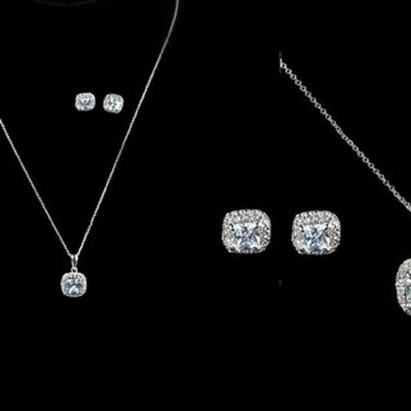 Luxusní sada náhrdelníku s náušnicemi se syntetickými bílými zirkony potežená platinou pro dlouhotrvající vzhled!