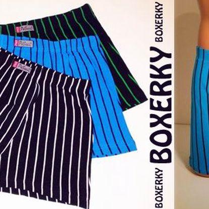 Pohodlné pánské boxerky -3 ks v balení, ve třech krásných barvách s proužky. Kvalitní pánské spodní prádlo s 95% podílem bavlny! Dostupné ve velikosti L-XXXL, poštovné v ceně.
