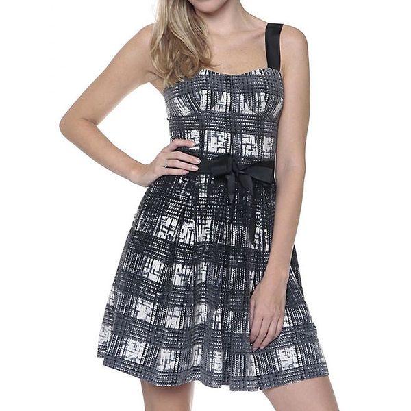 Dámské kárované šaty s páskem Guess