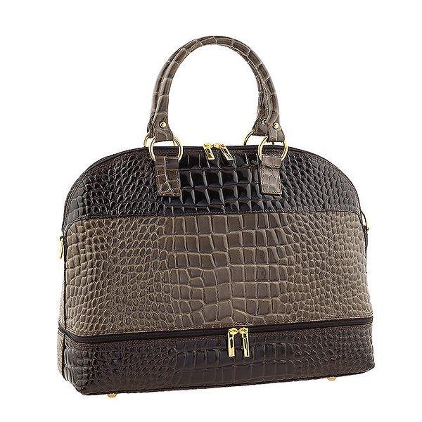 Dámská dvoubarevná kožená kabelka s odnímatelným popruhem Classe Regina