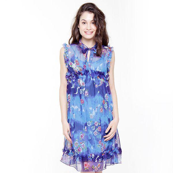 Dámské modré květinové šaty Peace&Love