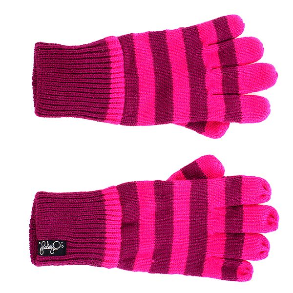 Dámské malinovo-růžové pruhované rukavice Fundango