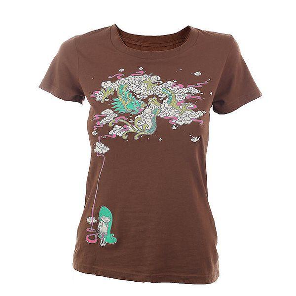 Dámské hnědé tričko s barevným potiskem Fundango
