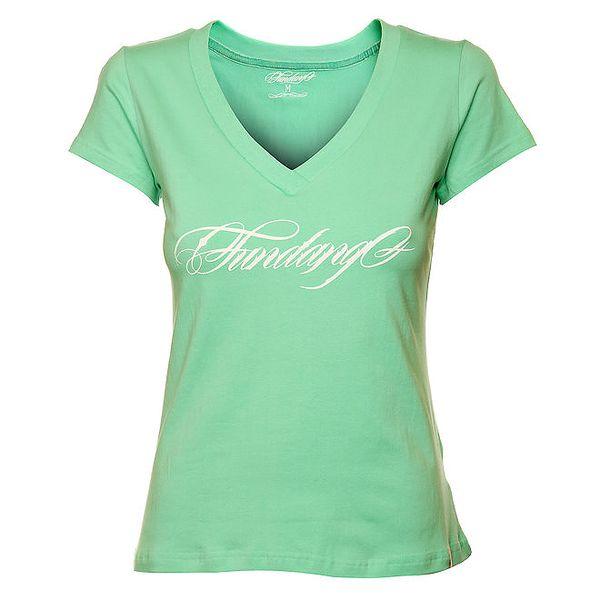 Dámské mintové tričko Fundango s potiskem
