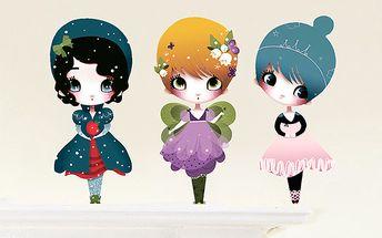 Mini tapetky - 3 panenky