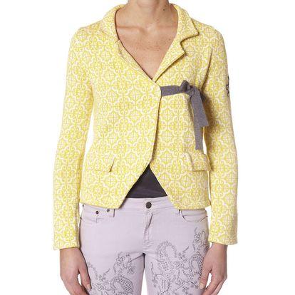 Úžasný pletený kabátek - yellow 233 s pásečkem na zavázání