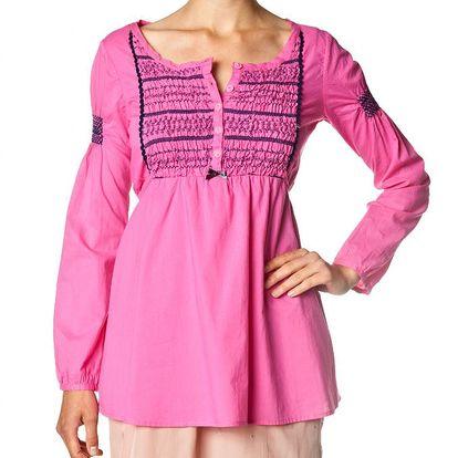 Lehká bavlněná tunika - pink 974 zdobená výšivkami