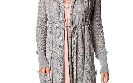 Nádherný jemný pletený šedý svetřík 052