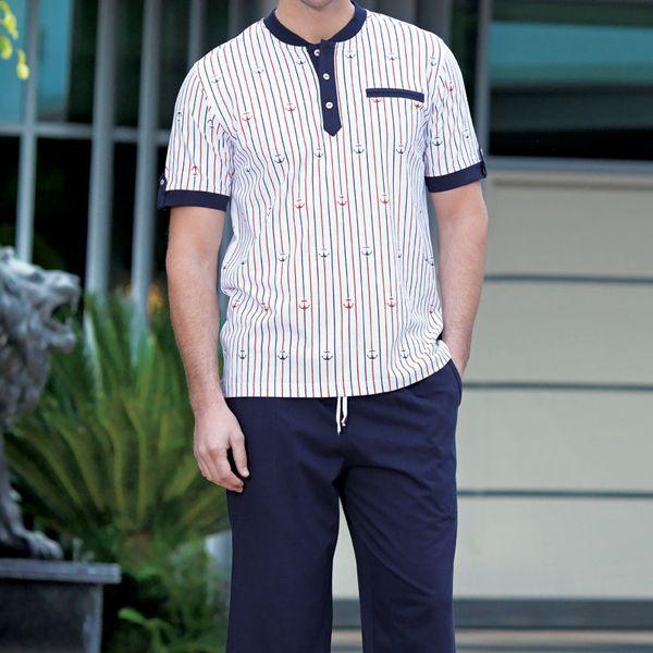Lehké pohodlné pánské pyžamo Anchor
