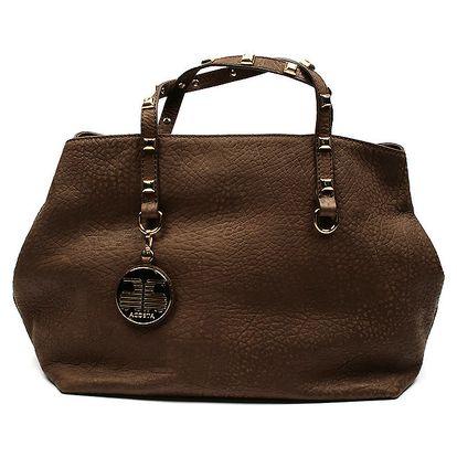 Dámská hnědá kožená taška s cvočky Acosta