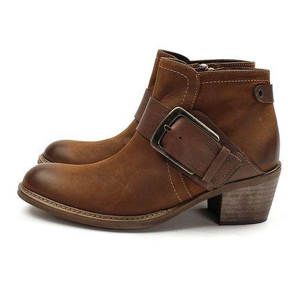 Dámské hnědé kotníčkové boty na podpatku Acosta s přezkou