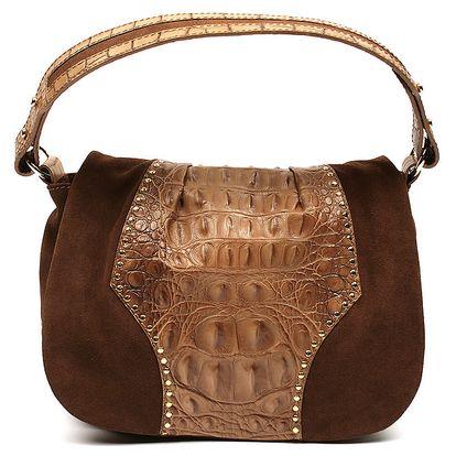 Dámská hnědá kabelka s imitací hadí kůže Acosta