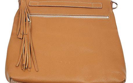 Dámská hnědá kožená kabelka se střapci Acosta