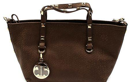 Dámská hnědá kožená taška se zlatými cvočky Acosta