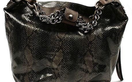Dámská zelená kabelka s řetízky a hadím vzorem Acosta