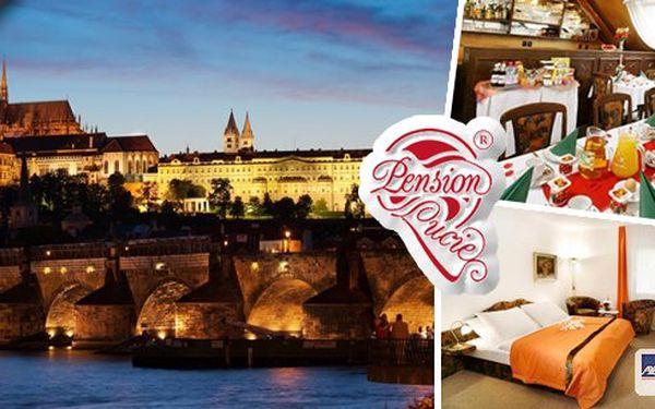 Ubytování pro 2 osoby na 2 dny se snídaní v Praze v Pensionu Lucie**** - penzion roku 2009! Poznejte krásy Prahy a navštivte všechna známá místa! Václavské náměstí, Karlův most, Pražský hrad a mnoho dalšího už na vás čeká!