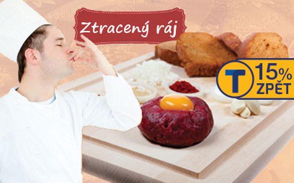 Tatarský biftek z hovězího roštěnce za 199 Kč!