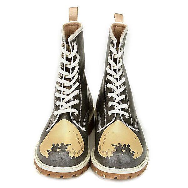 Dámské černé kotníkové boty se zamilovaným potiskem Dogo