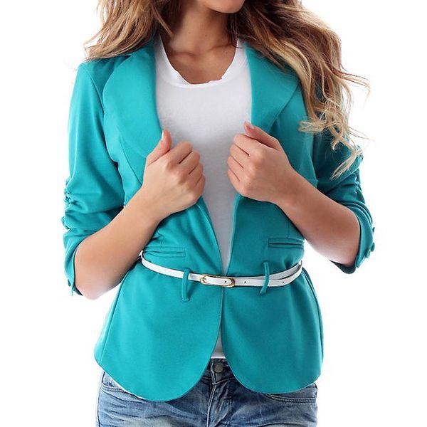Dámský tyrkysový blejzr Caramella Fashion