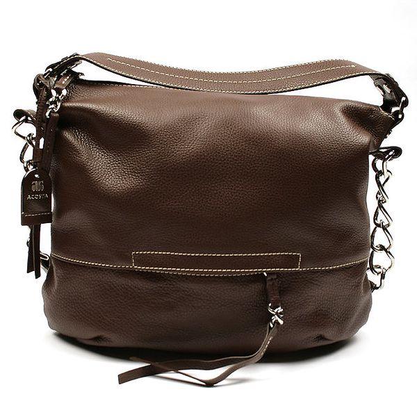 Dámská tmavě hnědá kabelka s kombinovaným popruhem Acosta