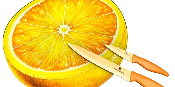 Zassenhaus Set 3 ks prkénko, dva nože Pomeranč