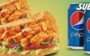 2 sendviče s kuřetem Teriyaki a 2 plechovky Pepsi