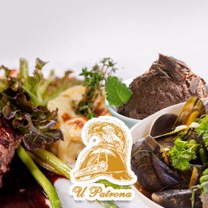 """Lahodné 4chodové menu pro dva, v luxusní restauraci """"U Patrona"""" přímo u Karlova mostu! LOSOSOVÁ TERINA s tousty a kaviárem, SLÁVKY NA VÍNĚ, VEPŘOVÉ MEDAILONKY se šťouchaným bramborem a ČOKOLÁDOVÁ PĚNA za 799 Kč!"""