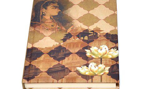 Originální béžový sešit / blok s lotosovým květem od India Circus