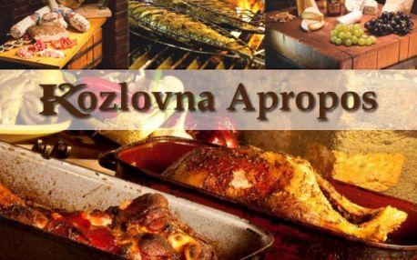 Veškerá jídla v legendární restauraci KOZLOVNA APROPOS s báječnou 50% slevou na všechna jídla. Speciality na lávovém grilu připravované přímo před vašima očima z nejčerstvějších surovin zkušenými kuchaři!!.