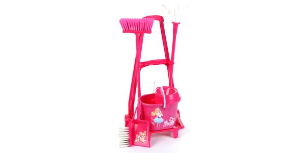 Klein růžový uklízecí vozík Barbie - mop, smeták, smetáček a lopatka a kyblík se ždímadlem pro mop