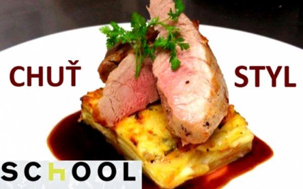 Oblíbená restaurace SCHOOL na nábřeží Vltavy! Sleva na CELÝ JÍDELNÍ LÍSTEK! Vyzkoušejte speciality známého šéfkuchaře Jana Charouze.