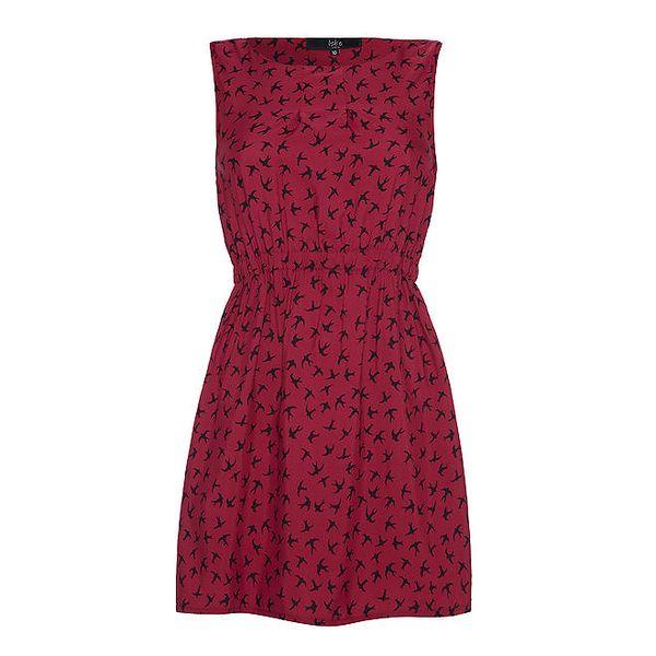 Dámské červené šaty s potiskem ptáčků Iska
