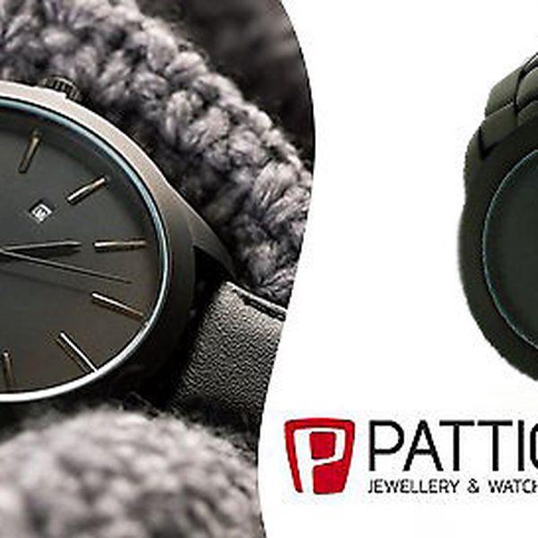 Originální pánské černé moderní hodinky značky Pattic