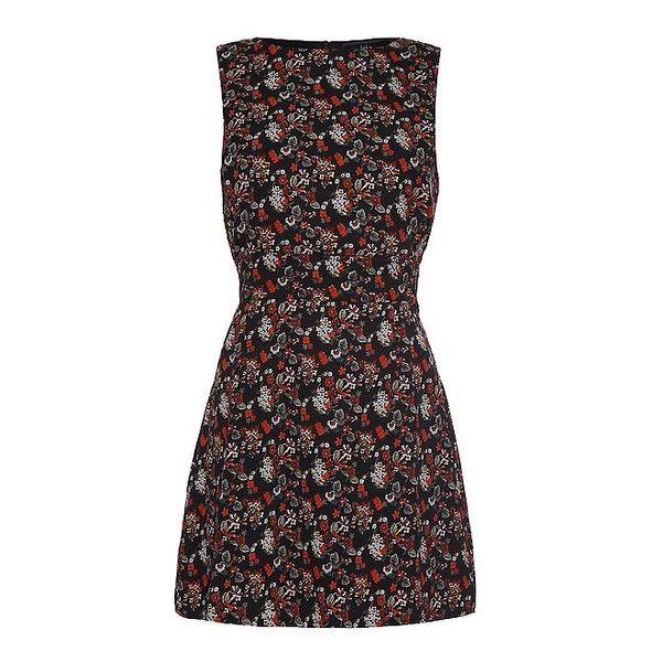 Dámské černé šaty s květinovým potiskem Iska