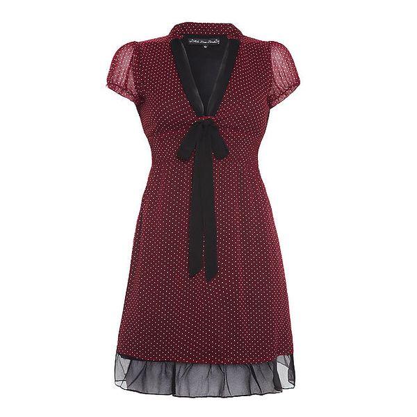 Dámské bordó šaty s puntíky Iska