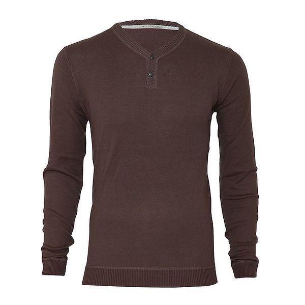 Pánský hnědý svetr s knoflíčky Paul Stragas