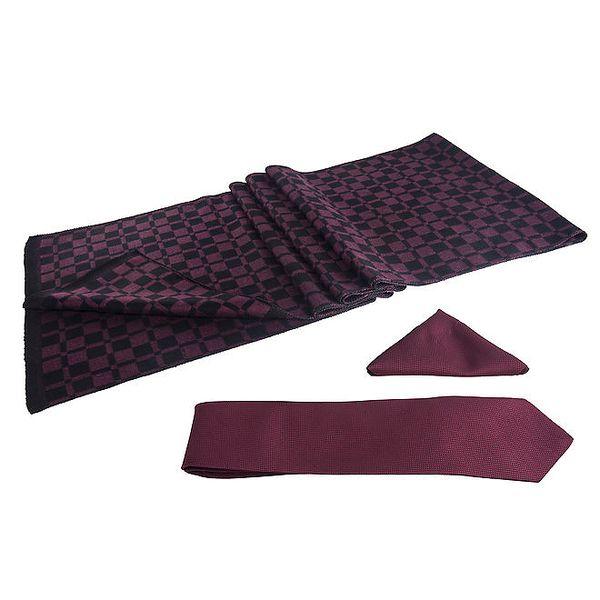 Pánská sada - vínová kostkovaná šála, kravata a kapesníček Giorgio di Mare