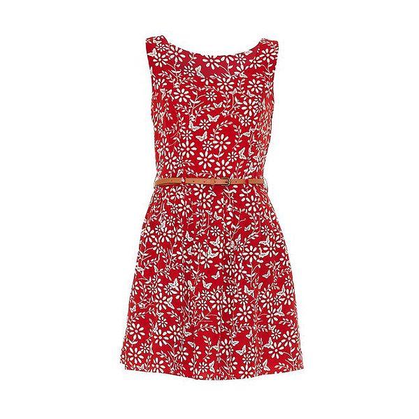 Dámské červené šaty s kytičkami Iska