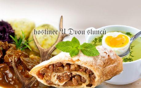 Užijte si ZVĚŘINOVÉ HODY - 3chodové menu PRO DVA, v restauraci U Dvou slunců přímo u Pražského hradu! BAŽANTÍ VÝVAR s křepelčím vajíčkem, RAGÚ Z DAŇKA na hříbkách s máslovými knedlíčky a JABLKOVÝ ZÁVIN! To vše za 379 Kč!