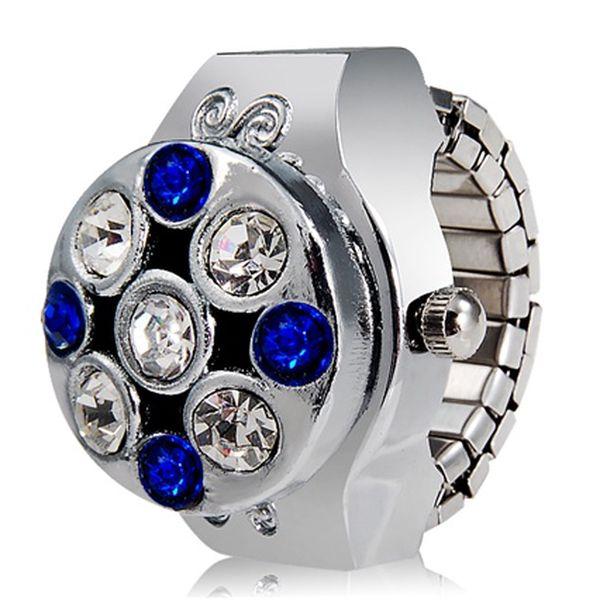 Prstýnkové hodinky se stříbrno-modrými kamínky a poštovné ZDARMA! - 5207929