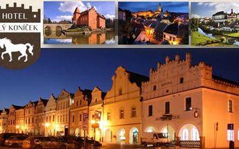 TŘEBOŇ - hotel Bílý Koníček*** přímo na Náměstí: 3 dny v hotelu pro 2,v ceně 1xvečeře, welcome drink až do konce dubna