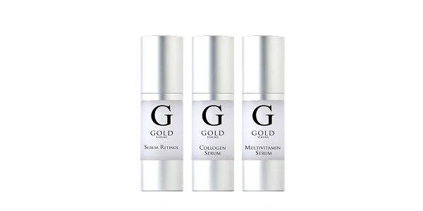 GOLD SERUMS RETINOL SKIN RENEW sérum 30ml + SKIN NOURISH A-C-D-E multivitamínové sérum 30ml+ COLLAGEN REVIVE sérum 30Ml