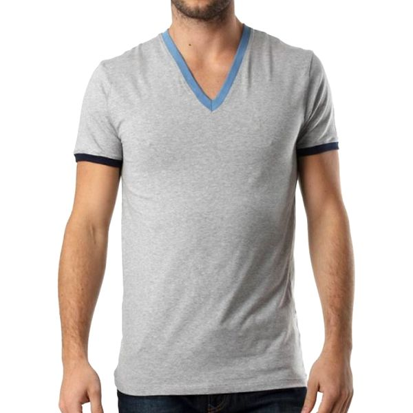 Pánské šedé tričko s výstřihem do V a kontrastními lemy Kenzo