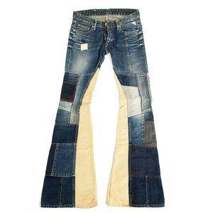 Dámské modré zvonové patchworkové džíny Replay