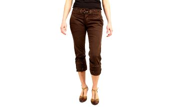 Dámské tmavě hnědé capri kalhoty Replay